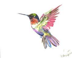 Hummingbird Painting original waterclor painting by ORIGINALONLY