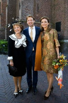(L-R) Dutch Princess Margiet, her son Prince Floris and daughter in-law Princess Aimee attends the 2014 King's Day celebrations in De Rijp