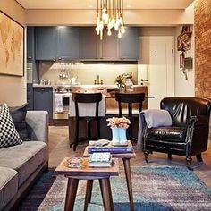 decor retro,gourmet, poltrona de couro,mesa de centro,decor