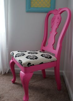 ugly old dining chair + paint and fun fabric = idea for Olivia's future big girl room