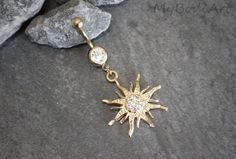 Sun Belly Ring Rose Gold Belly Button Rings Moon by MyBodiArt