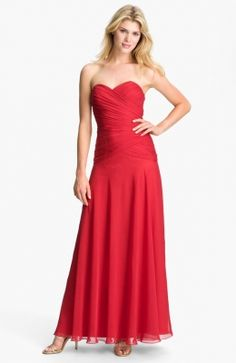Dalia MacPhee Pleated Strapless Chiffon Gown (Online Exclusive) available at Nordstrom Chiffon Evening Dresses, Chiffon Gown, Strapless Dress Formal, Summer Dresses Online, Red Summer Dresses, Bridesmaid Dresses, Prom Dresses, Formal Dresses, Bridesmaids