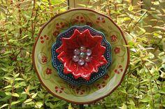 Garden Flower Plate Upcycled Yard Art by RecycledBySkattur on Etsy, $20.00