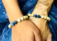 Bracelets Distance en perles de bois  et Dumortierite Bracelet Distance, Bracelet Couple, Beaded Bracelets, Jewelry, Stretch Bracelets, Beads, Woodwind Instrument, Jewerly, Jewlery