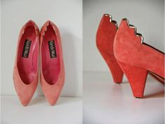 Vtg Pink Suede Silver Abstract Cut Out Heel Retro by LuluTresors, $39.99