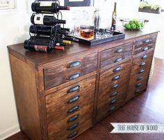 diy restoration hardware printmakers sideboard, painted furniture, DIY Restoration Hardware Bar Cabinet