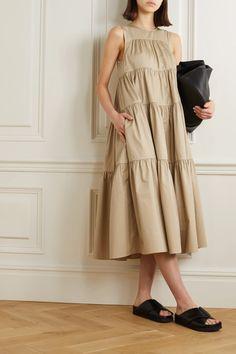 Co - Tiered cotton-sateen midi dress Dress Outfits, Fashion Dresses, Cute Outfits, Midi Dresses, Simple Dresses, Summer Dresses, Indian Bridal Fashion, Maxi Robes, Poplin Dress