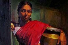 25 Beautiful Rural Indian Women Paintings by Tamilnadu artist ilayaraja realistic tamil woman painting Indian Women Painting, Indian Art Paintings, Indian Artist, Classic Paintings, Beautiful Paintings, Oil Paintings, Indian Artwork, Acrylic Paintings, Paintings Famous