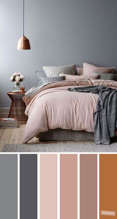 Copper, Grey and Mauve Color Scheme for Bedroom. Bedroom color scheme ideas will help you to add.Mauve and copper color palette,color scheme,home color ideas Color Copper, Grey and Mauve Color Scheme for Bedroom Best Bedroom Colors, Bedroom Colour Palette, Gray Bedroom Color Schemes, Room Color Ideas Bedroom, Grey Palette, Interior Color Schemes, Colors For Bedrooms, Home Color Schemes, Relaxing Bedroom Colors