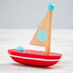 Wooden boat for toddler boy room decor / toy