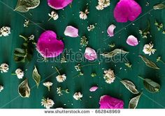 Floral background. Flowers and leaves on vintage  green wooden board. Top view.