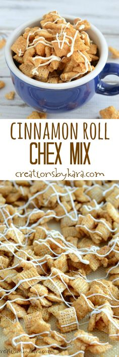 Recipe for sweet and crunchy Cinnamon Roll Chex Mix. Sure to be a hit at any party! A delightful cinnamon sugar snack!