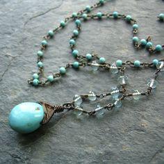Sleeping Beauty Turquoise Aquamarine Wire Wrap Necklace - mylenefoster