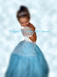 Disney princess Cinderalla inspired costume blue tutu skirt with rhinestones for birthdays, dress up