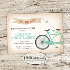 Beetle&Quill Bicycle Built for Two Printable Save the Dates (consists of 1 customized, printable 5x7 / postcard size Save-the-Date card) $30