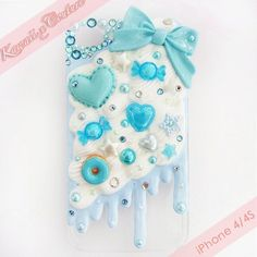 Kawaii x Couture Exclusive Whipped Cream & Frosting Blue Sweets Decoden iPhone 4/4S Case