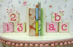 Noble Niches: Pink & Green Block Bookends