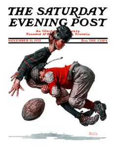 """""""Fumble"""" or """"Tackled"""" Saturday Evening Post Cover, November 21,1925 Giclee Print by Norman Rockwell at AllPosters.com"""
