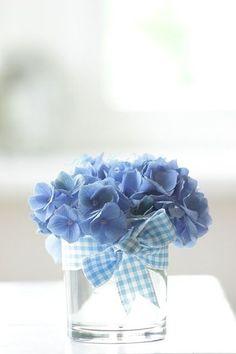 Hydrangea, water glass, and gingham ribbon: simply beautiful Hortensia Hydrangea, Blue Hydrangea, Hydrangeas, Fresh Flowers, Beautiful Flowers, Simply Beautiful, Deco Floral, Blue Gingham, Blue Bird