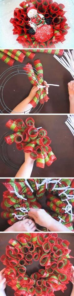Easy Deco Mesh Loops | 20+ Super Easy DIY Christmas Wreaths