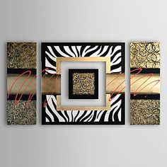 Hand-painted Modern Abstract Oil Painting Canvas Art with Stretched Frame - Set of 4 – AUD $ 157.69