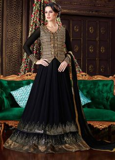 Stunning Black double layer Long jacket style anarkali suit