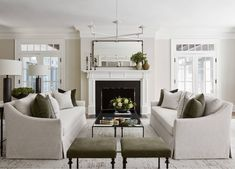 Cozy traditional decor with linen slipcovered sofas and fireplace in restoration Hardware style livingroom, Cozy Traditional living room decor Best Living Room Design, Farm House Living Room, Living Room Decor Traditional, Home Decor, Living Room Grey, Interior Design, Living Decor, Home And Living, Room Layout