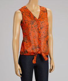 Another great find on #zulily! Orange Jungle Front-Tie Button-Up Top #zulilyfinds