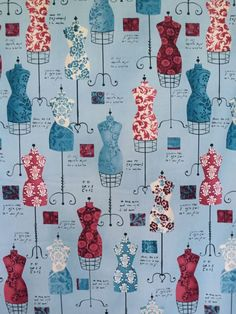 Blue on Blue Dress Up Print Pure Cotton by fabricsandtrimmings
