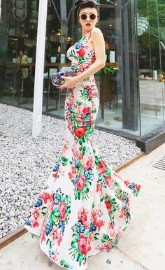Morpheus Boutique  - White Floral Pattern Backless Ruched Thigh Split Long Dress, $119.99 (http://www.morpheusboutique.com/white-floral-pattern-backless-ruched-thigh-split-long-dress/)