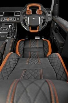 Range Rover Sport Vesuvius Editon interior- love the orange stitching! - Range Rover Sport Vesuvius Editon interior- love the orange stitching! Range Rover Sport Vesuvius Editon interior- love the orange stitching! Luxury Sports Cars, Luxury Suv, Sport Cars, Car Interior Upholstery, Automotive Upholstery, Custom Car Interior, Car Interior Design, Maserati, Lamborghini