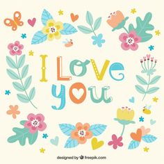 I love you floral card