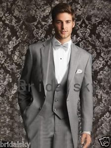 2014 Two buttons Light gray Notch Lapel Groom Tuxedos Groomsmen Men Wedding Suit