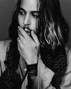Johnny Depp, male actor, celeb, hand, fingers, gesture, powerful face, intense eyes, eyecandy, sexy, steaming hot, long hair style, portrait, photo b/w