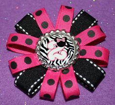 Minnie Mouse Birthday Clip (1-9) Hot Pink & Black