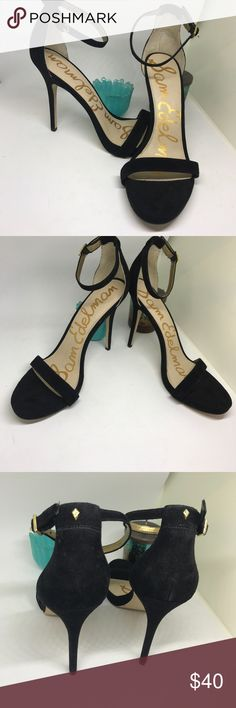 """Sam Edelman patty ankle strap sandal Gorgeous black suede strappy stilettos with gold details. These are Hot and in perfect condition! Heel height is 3"""" Sam Edelman Shoes Heels"""