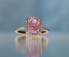 3.35ct cushion Raspberry Peach sapphire Champagne sapphire ring diamond ring 14k rose gold Engagement ring