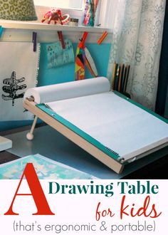 I want two of these! One for each of my children! Awesome! A Slanted Kids Drawing Table :: Ergonomic and Portable!