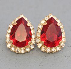 Red Earrings Red Ruby Earrings Bridal Ruby Stud Earrings Gold Jhumka Earrings, Ruby Earrings, Swarovski Crystal Earrings, Bridal Earrings, Ruby Crystal, Crystal Jewelry, Gifts For Women, Gifts For Her, Ruby Jewelry