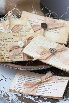 old recipe cards, cute idea for a wedding shower party favor