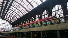 Painted train at Antwerp Central Station