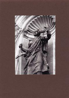 """Skulptur """"Gerechtigkeit"""", Kupfer getrieben, mit geschmiedeter Innenkonstruktion, Höhe ca. 4 m. Diese Skulptur befindet sich in der Fassade auf der Spreeseite des Berliner Domes. Es ist eine Neuanfertigung und 1981 - 1982 entstanden. Verschiedene Kollegen haben damals daran mitgewirkt. Da ich jedoch entscheidenden Anteil an der Arbeit hatte, wurde es als mein Meisterstück anerkannt."""