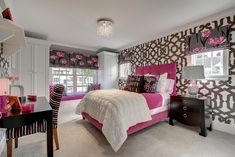 A Glamorous Master Size Girl Bedroom With Spherical Patterned And Pink Flowery Wallpaper For With Classic Wooden Studying Table And Stripe Chair And Crystal Lamp Interesting 50 Best Design Bedroom Ideas for Girls in Unique Projects Bedroom design