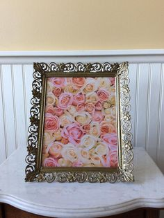 Beautiful 8 x 10 ornate picture frame with easel on back. Gold filigree metal frame with a floral scroll design. Can sit propped vertical or horizontal. In good vintage condition with original glass. Great for special occasion photo, wedding, bookshelf, dresser or table top decor. Several picture frames sold in shop, convo if you wish to purchase more than one item for reduced shipping cost.  Measures 12 x 10, Fits 8 x 10 picture Thanks for shopping YellowHouseDecor!  Please visit my sisters…