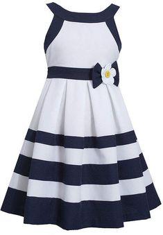 Bonnie Jean® Nautical Dress - Girls found at Nautical Party Dresses, Nautical Dress, Holiday Outfits, Holiday Dresses, Holiday Clothes, Little Girl Dresses, Girls Dresses, Striped Jeans, Striped Dress