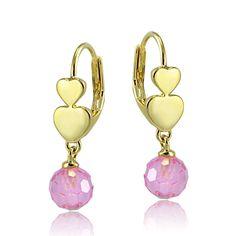 Icz Stonez Goldtone Pink Cubic Zirconia Drop Ball Children S Leverback Earrings Bye10241b Lpz Size Small Yellow Sensitive Earschildren