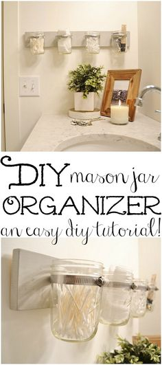 Super easy DIY mason jar orgnanizer!  http://www.craftsmandrive.com/2014/12/16/thediy-mason-jar-holder/