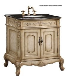 Those looking to live in the lap of luxury can start by adding this Victorian looking vanity to their bathroom project. Intricately carved hardwood cabinetry provides a large cabinet for storage and the counter comes in granite. The ceramic sink is under mounted to give full viewing pleasure to the lovely cabinet.