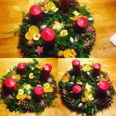 Christmas decorations, advent wreath 2016 N4 Advent Wreath, Christmas Decorations, Table Decorations, Wreaths, Vegetables, Fun, Home Decor, Homemade Home Decor, Door Wreaths