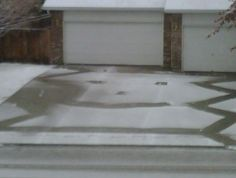 Neighbor's young boys shoveled the snow off the driveway.  Love their sense of humor.